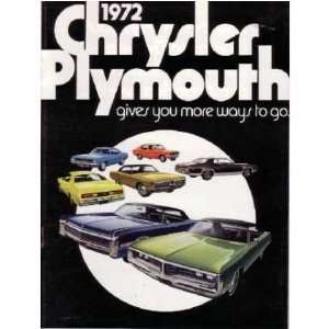 1972 CHRYSLER PLYMOUTH Sales Brochure Literature Book