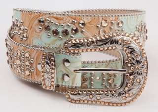 SIMON SWAROVSKI CRYSTAL TURQUOISE/TAN LEATHER BELT