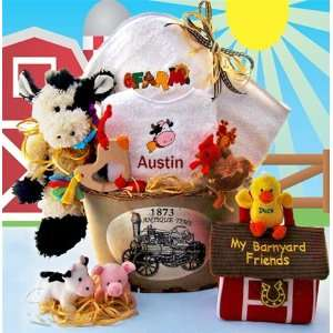 Custom Barnyard Buddies Gender Neutral Baby Gift Basket Baby