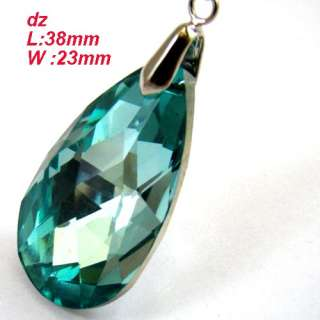c8234 Sparking Faceted Teardrop Glass Crystal Pendant Necklace Fashion