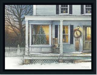 Front Porch Rocker Holiday Decor Christmas Art Framed
