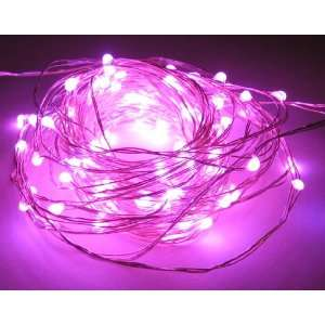 Pink Decorative 100 LED Lights on 30 Ft Long Ultra Thin Silver String