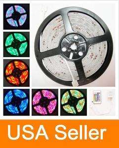 Waterproof 5M RGB 3528 300P SMD LED Strip light 24 Key IR remote