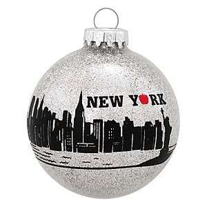 New York City Skyline Glass Ornament