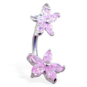 Pink double jeweled flower belly ring Jewelry