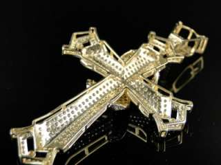 NEW MENS 10K SOLID YELLOW GOLD SIMULATED DIAMOND CROSS PENDANT CHARM