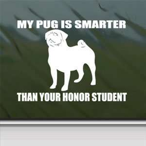Pug White Sticker Dog Funny Car Laptop Vinyl Window White