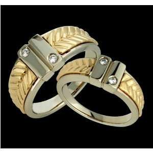 Aalia   Fabulous 14k Gold Two Tone Diamond Wedding Band Set   Custom