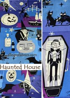 Haunted House Halloween Blue Witch Vampire Fabric AH