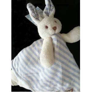 Blankets and Beyond Blue & White Striped Bunny Security Blanket