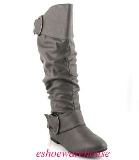 Dark Gray Leatherette Awesome Cutie 2 Buckle Detail Slouch Flat Knee