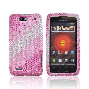 For Motorola Droid 4 Magenta Pink Silver Gems Hard Bling