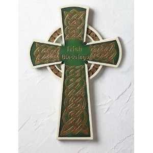 Irish Blessings Green and Gold Celtic Wall Crosses 12 Home