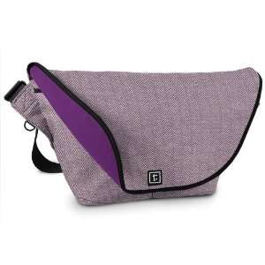 Large Zero Messenger Bag Performance Tweed Aubergine