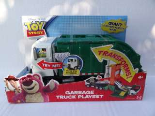 DISNEY PIXAR TOY STORY GARBAGE TRUCK PLAYSET (TRANSFORMS) SOUNDS NEW