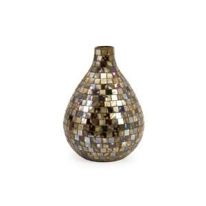 Glass and Mirrored Tiles Short Noida Mosaic Table Vase