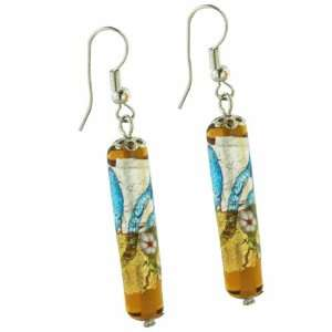 Yellow Cylinder Flower Murano Glass Dangle Earrings Pugster Jewelry