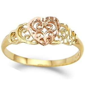 Heart Ring 14k Rose Yellow Gold Right Hand Band, Size 5