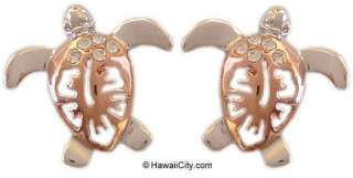 Hawaiian Silver Rose Gold Finish Honu Flower Earrings