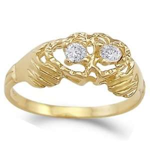 Hands Holding Two Hearts Ring CZ 14k Yellow Gold Band Cubic Zirconia