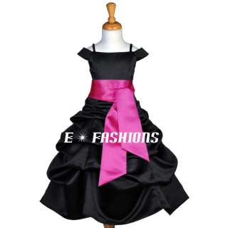 BLACK FUCHSIA PINK BRIDESMAID HOLIDAY WEDDING FLOWER GIRL DRESS 4 6 8