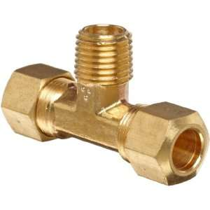 Anderson Metals Brass Tube Fitting, Tee, 3/8 Compression x 1/4