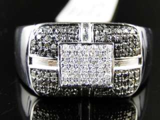 MENS WHITE GOLD FINISH WHITE/BLACK DIAMOND FASHION DESIGNER PINKY RING