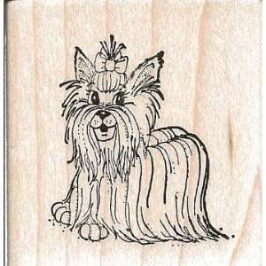 Yorkie Yorkshire Terrier Dog Wood Mounted Rubber Stamp