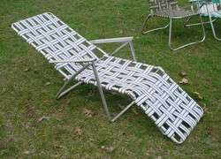 Vintage Aluminum Folding Webbed Chaise Lounger Chair Lawn Beach Deck