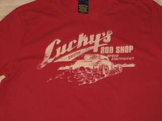 LUCKY BRAND Rod Shop T Shirt Red NWOT
