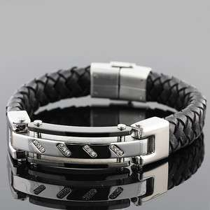 and Black Leather Silver Tone White Crystals Mens Bracelet