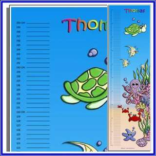 Personalised Child Growth Height Chart under water sea
