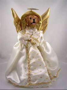 CHRISTMAS XMAS ORNAMENT TREE TOPPER GOLDEN RETRIEVER ANGEL STATUE