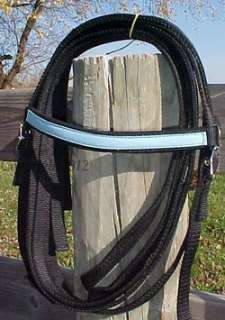 17 BLACK/SKY BLUE OSTRICH WESTERN HORSE SYNTHETIC LEATHER TRAIL