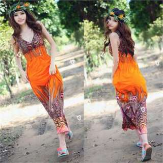 NEW Evening/Summer Sexy Women Double V Long Dress Flowers Beach