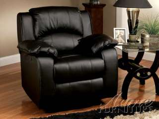 Black Bonded Leather Swivel Recliner Chair