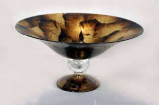 Murano Glass Gold Foil Footed Centerpiece Bowl NEW