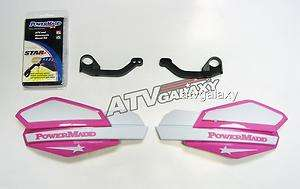 Powermadd Yamaha Raptor 660 Star Handguards White/Pink