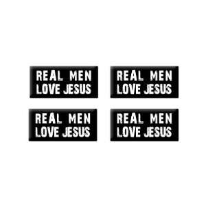 Real Men Love Jesus   3D Domed Set of 4 Stickers