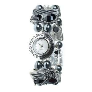 Magnetic Hematite Black Jewel Flower Ladies Bracelet Watch