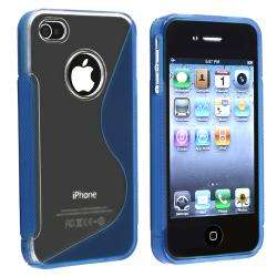 Blue S Shape TPU Rubber Case for Apple iPhone 4/ 4S