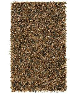 Brown Leather Shag Area Rug (4 x 6)