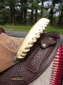 Seat Used Circle Y Basketweave Tooled & Roughout Barrel Racing Saddle