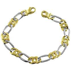 14k Two tone Gold Mens Figaro Bracelet