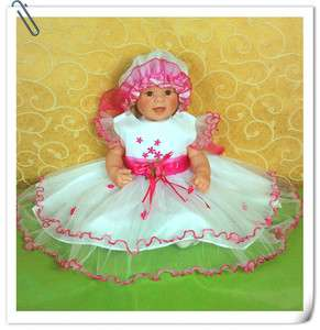 B05 Baby Girls Christening Wedding Party Pageant Dress+Bonnet0 3,3 6,6