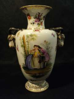 19TH C. ROYAL VIENNA BEEHIVE PORCELAIN RAMS HEAD CABINET VASE