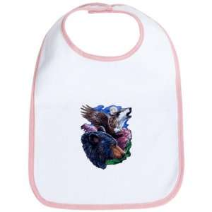 Baby Bib Petal Pink Bear Bald Eagle and Wolf