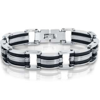 Stainless Steel with Black Rubber Mens Chain Link Bracelet 8 inches
