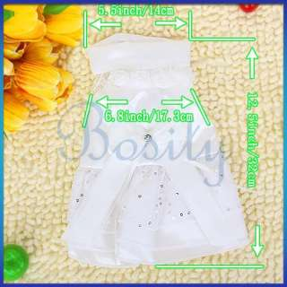 White Pet Dog Wedding Pincess Dress Apparel Clothes   L