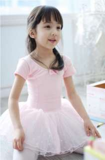 Girl New Party Leotard Ballet Tutu Costume Dance Skirt Short Sleeve